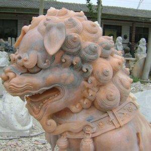 晚霞红石雕狮子价格(图片)