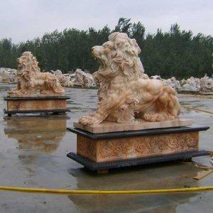 晚霞红石狮子石雕狮子价格(图片)
