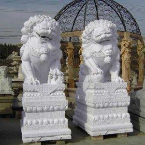汉白玉镇宅石狮子石雕
