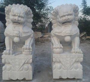 威武汉白玉石雕狮子一对 案例图片