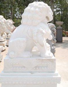 <b>高2米汉白玉石狮子价格 图片展示</b>