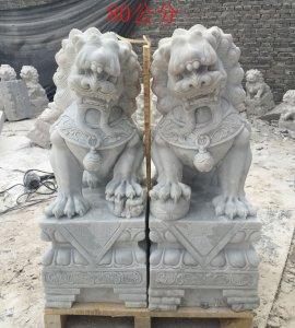 高0.8米石狮子一对 汉白玉正面图片(04)