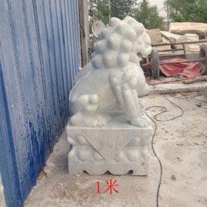 高1米汉白玉石雕狮子侧面图片(14)