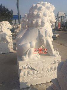 高2.2米汉白玉石狮子侧