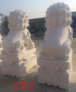 高2.2米汉白玉石雕狮子