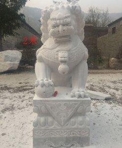 高2米汉白玉石雕狮子