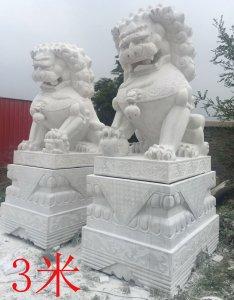 高3米湖南汉白玉石狮