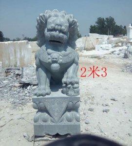高2.3米青石石雕狮子正面图片效果(图片)